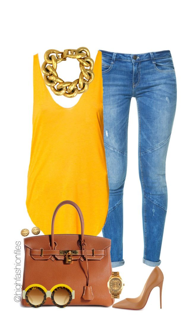 """Sunshine"" by highfashionfiles ❤ liked on Polyvore featuring moda, Zara, Hermès, Christian Louboutin, Oscar de la Renta, Givenchy, Rolex y Chanel"