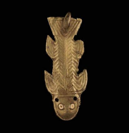 Fish effigy pendant      Nariño, Tierradentro, or Quimbaya, A.D. 500–1550       Southwestern highlands, Colombia