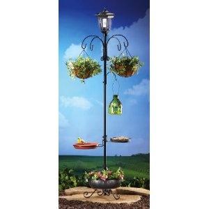 garden hanging basket plant stand w feeder solar lantern for kids 39 backyard plant stands. Black Bedroom Furniture Sets. Home Design Ideas
