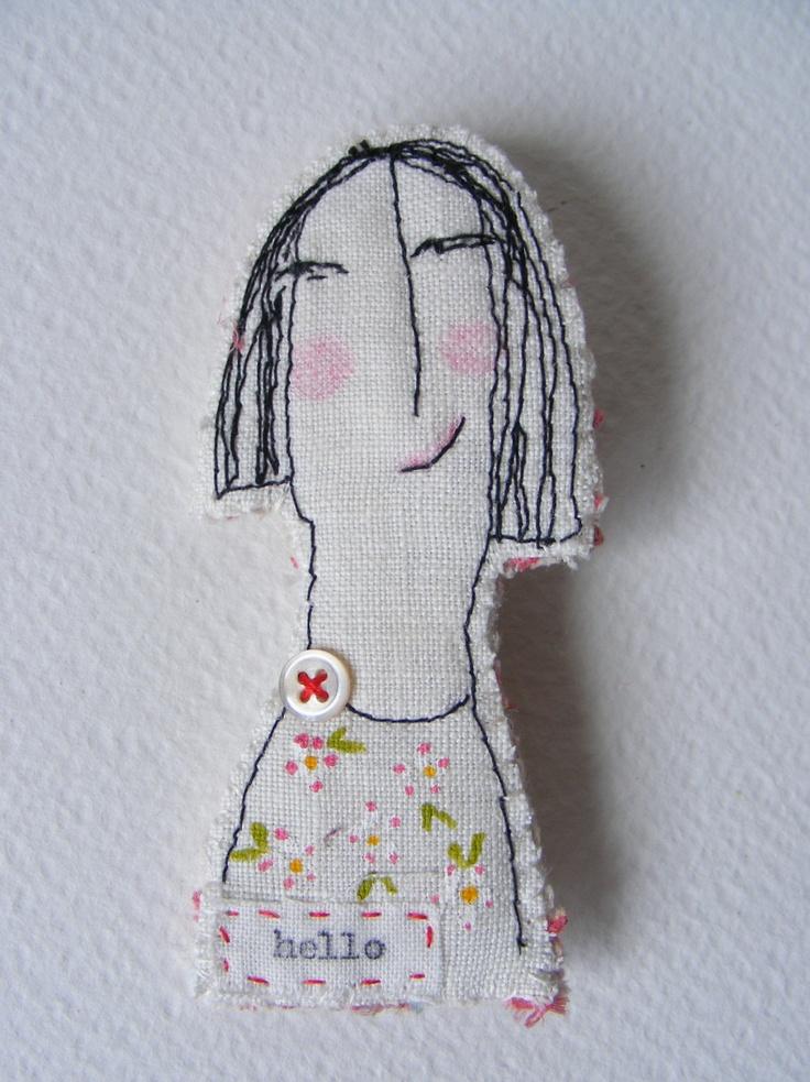 Handmade textile machine embroidered BROOCH ... Hello. $32.00, via Etsy.