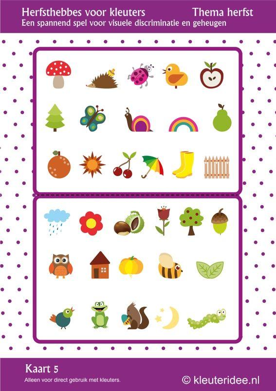 Leuk spel voor kleuters, Herfsthebbes kaart 5, by juf Petra van kleuteridee, oefent de visuele discriminatie en het geheugen, free printable.