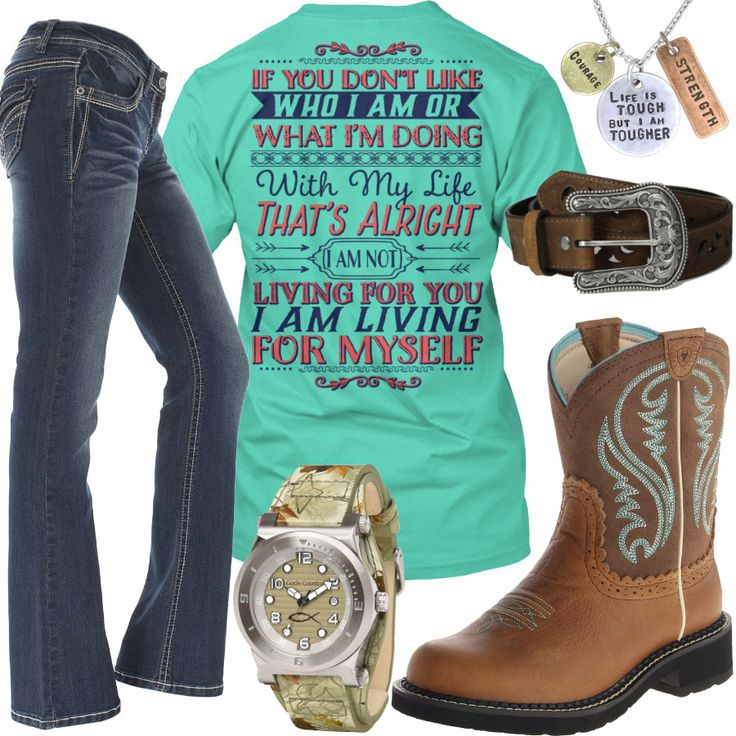 I Am Living For Myself Ariat Fatbaby Boots Outfit - Real Country Ladies