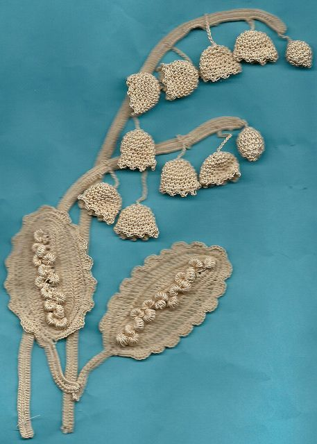 """Eileen Jones. Lily of the Valley crochet. """"My interperation of the Lily of the Valley motif on the front cover of the 4th volume of the book series on Irish Crochet written by Mme Hardouin."""""""
