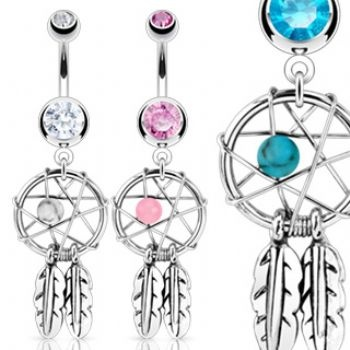 Dreamcatcher Dangle Belly Piercing Bar will das Blaue   –  Piercing