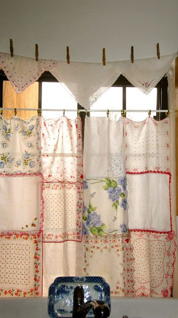After pinning lots of vintage hankie ideas, I made my own curtains for the kitchen