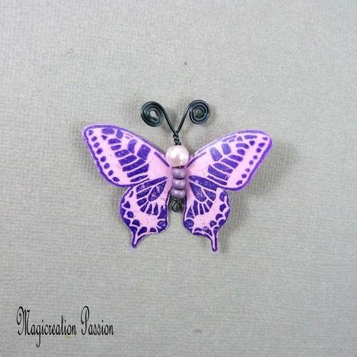 Papillon plastifié maéva violet et rose 5 cm
