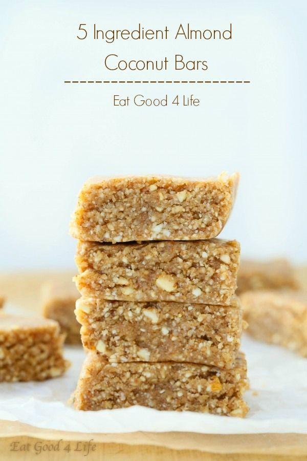 5 ingredient almond coconut bars | Eat Good 4 Life