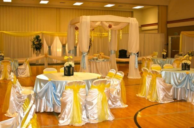 Utah Cultural Hall Wedding Decorating | LDS cultural hall reception in yellow and blue | Hannah's wedding rec ...