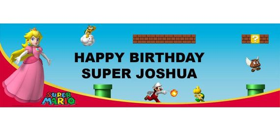 Mario Bros Personalized Happy Birthday Banner 5ft, Princess Peach Birthday Party Banner  These are great for a Child's Party!