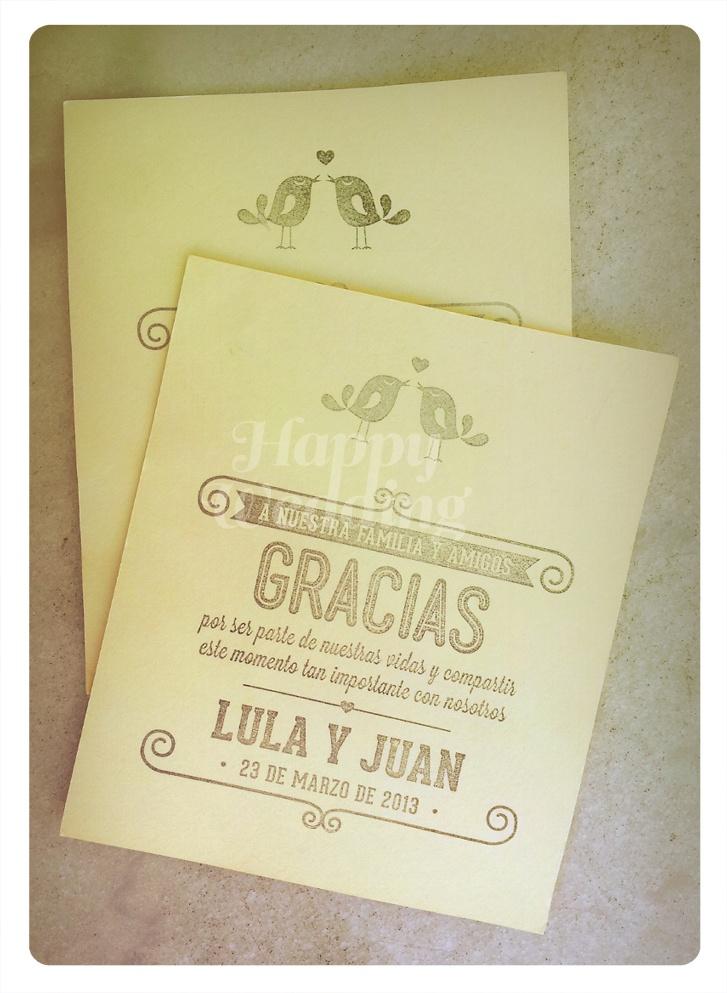 Tarjetas de agradecimiento de los novios a sus invitados.