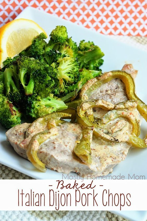Baked Italian Dijon Pork Chops - Juicy, boneless pork chops and green peppers bake in a delicious sauce of Zesty Italian Dressing and Dijon mustard - the perfect easy weeknight dinner!