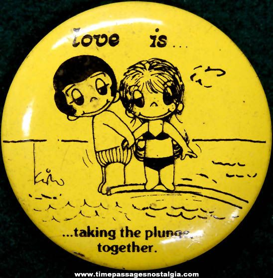 1970's cartoon characters | ... 1970 Love Is... Newspaper Comic Strip Character Pin Back Button - TPNC