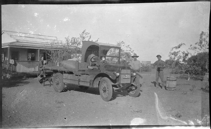 112975PD: The Gascoyne Trading company truck at Yardie Creek Station, driven by Lindsay Skipworth and William John King, 1925. https://encore.slwa.wa.gov.au/iii/encore/record/C__Rb4647223