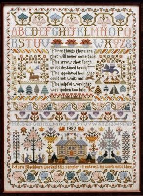 Moira Blackburn Samplers Three Things Sampler - Cross Stitch Pattern - 123Stitch.com