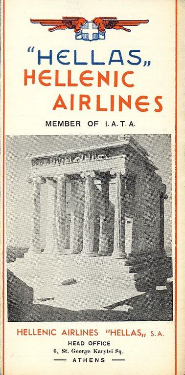Hellenic Airlines Timetable, March 4, 1950