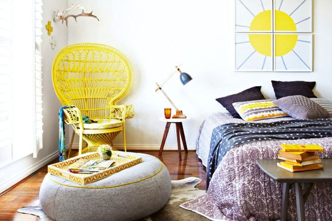 Vibrant yellows and moody greys give this bedroom a warm and welcoming feel. With pops of colour, striking textures and subtle tones you can update your spring bedroom with a few of these simple hints and fresh new products.