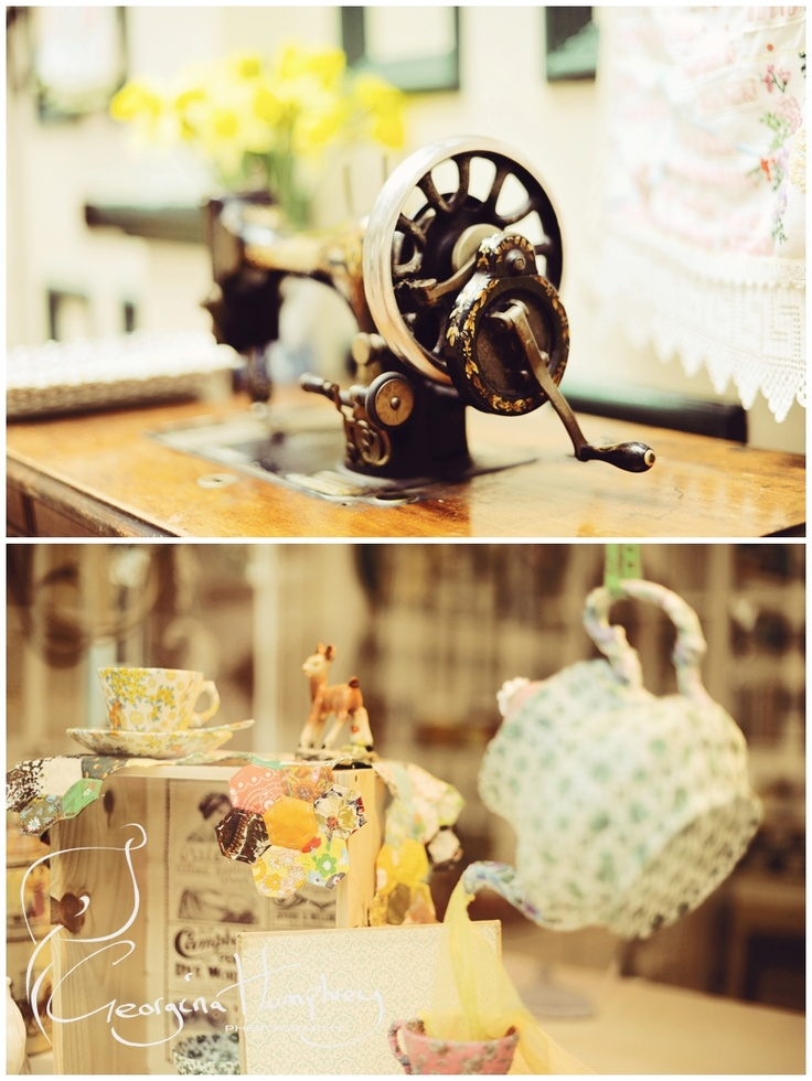 one of the many sewing machines outside the button tin......