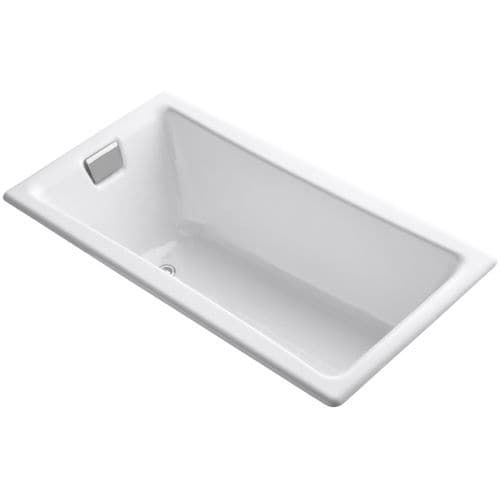 kohler k850 teafortwo collection 60 drop in cast iron soaking bathtub with reversible drain white left size 60 to 65 inches