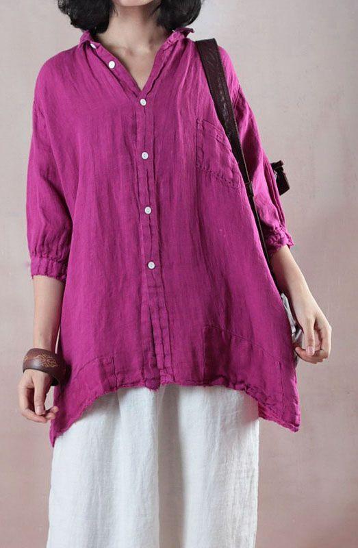 b6be1ab6 Elegant-rose-cotton-linen-blouse-oversize-cotton-linen-clothing-blouses