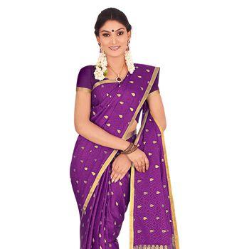 Purple Pure Mysore Silk Saree with Blouse