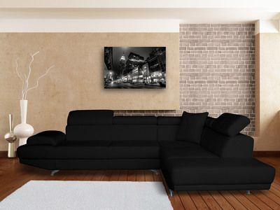 Canapé d'angle simili cuir  5 places avec têtières réglables CANDICE