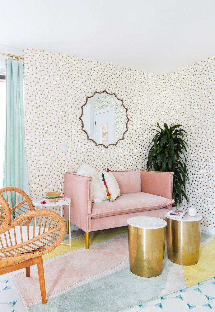 Pastel seating area