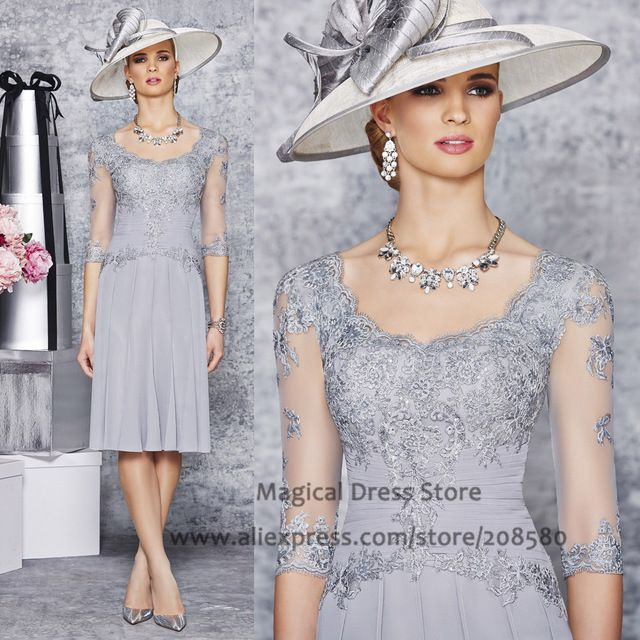 Formal Brides Mother Dresses for Weddings Knee Length Half Sleeve Grey Groom Evening Gown 2016 Vestidos Madrina Boda GM219 US $96.80  Specifics Item Type	Mother of the Bride Dresses Decoration	Appliques,Lace is_customized	Yes Brand Name	Magical Fabric Type	Chiffon Dresses Length	Knee-Length Silhouette	A-Line Built-in Bra	Yes Actual Images	No Sleeve Length	Half  Click link to buy other product http://goo.gl/p8JMyk