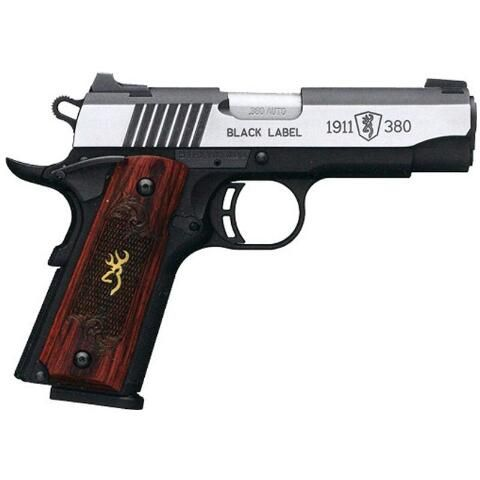 """Browning Black Label 1911 in .380 ACP special Medallion edition. 3.62"""" barrel, holds 8 rounds and has Rosewood grips."""