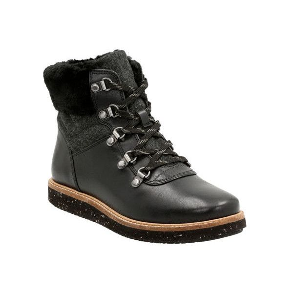 Women's Clarks Glick Clarmont Hiking Boot featuring polyvore, women's fashion, shoes, boots, black, casual, winter boots, black hiking boots, black laced shoes, short heel boots, black shoes and clarks boots