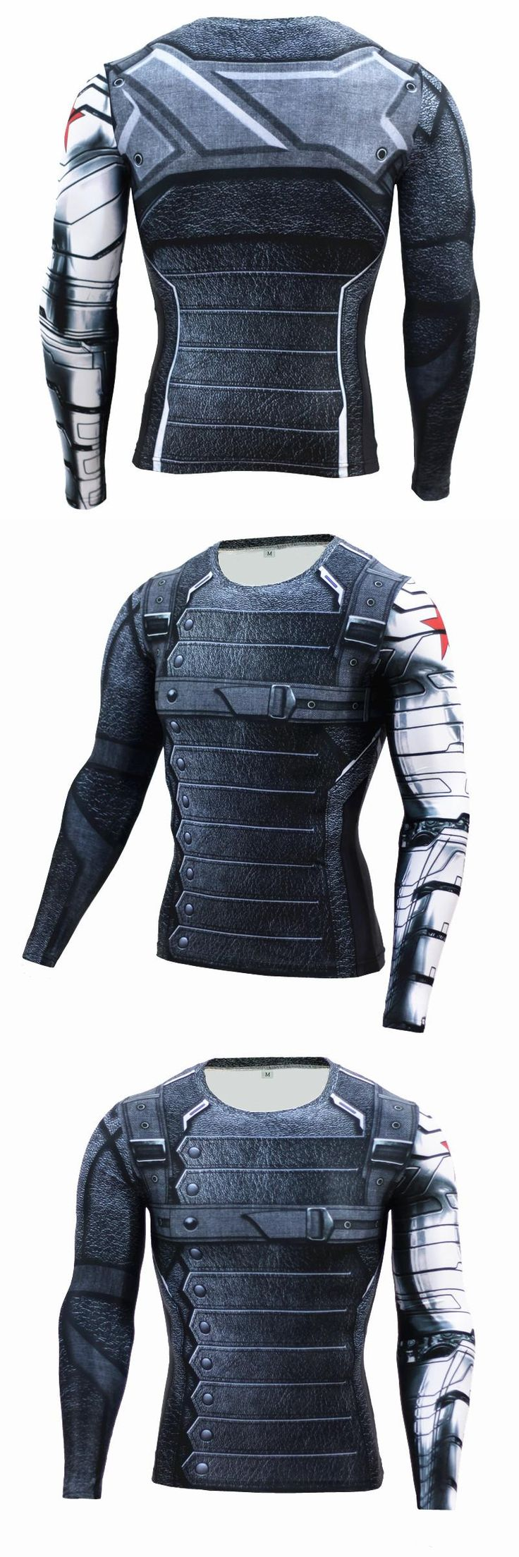 New 2016 Winter 3D Soldier Avengers 3 Fitness Compression Shirt Men Bodybuilding Long Sleeve T Shirt Crossfit Tops Tight Shirts