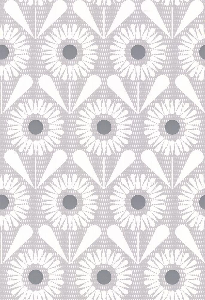Layla Faye Sunny Flower Silvery Moon Grey Wallpaper main image