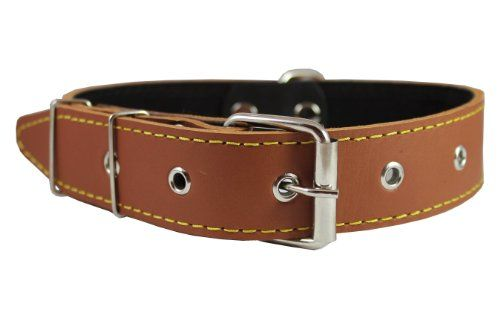 Real Thick Leather Dog Collar 1622 Neck Size 15 Wide Bullterrier Pitbull * Click image to review more details.(This is an Amazon affiliate link and I receive a commission for the sales)