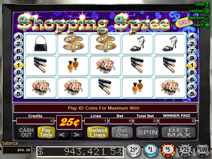 Play the Shopping Spree RTG video slot game, totally free at 1OnlineCasino.com