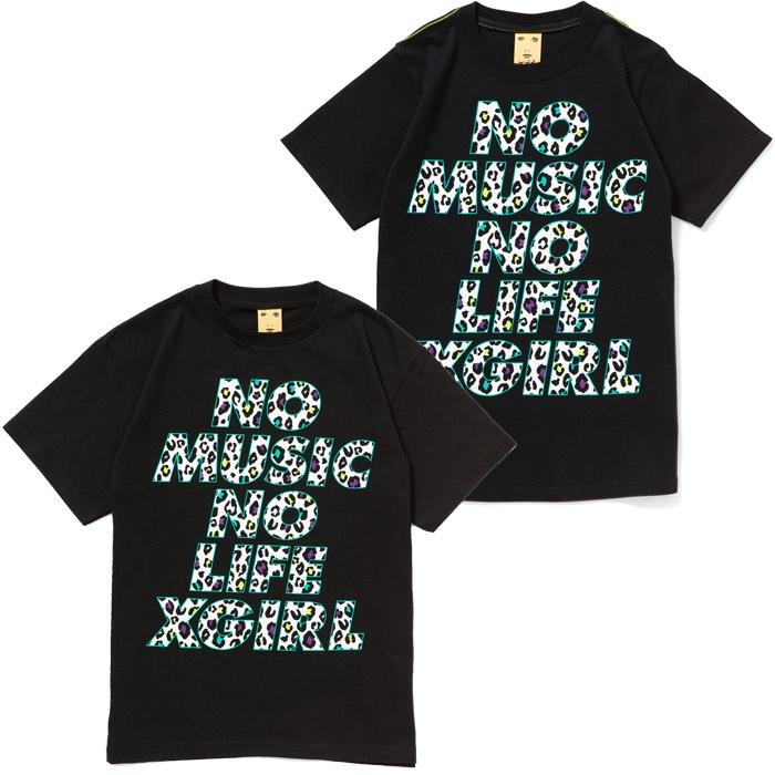 【TOWER RECORDS x X-girl NMNL TEE'13】  マルチカラーのレオパード柄で落とし込んだTOWER RECORDSのコーポレート・ボイス「NO MUSIC, NO LIFE.」とX-girlのロゴが黒に映えるユニセックスで楽しめる1枚。