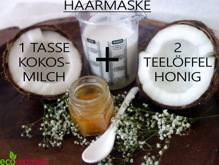 Haarmaske gegen trockene Haare selber machen. Kokosmilch + Honig #Haarmaskeselbermachen #Naturkosmetik #natürlichschön