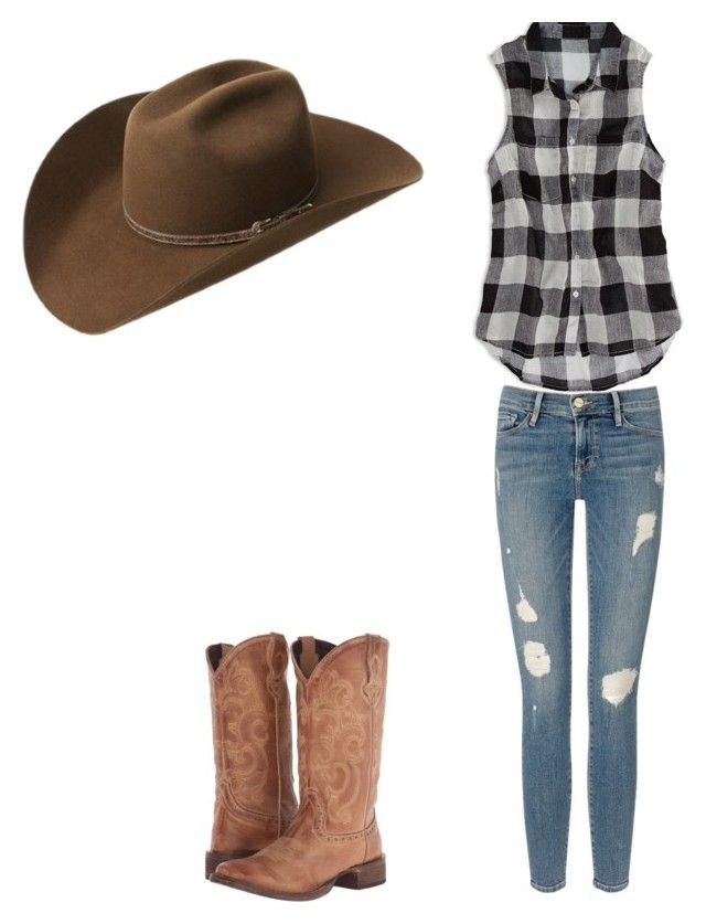 """Western"" by jjcurtiss ❤ liked on Polyvore featuring American Eagle Outfitters, Frame Denim, Roper and Bailey Western"