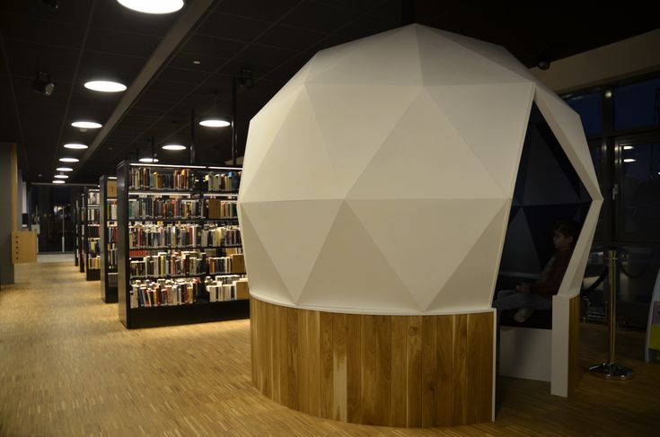 Longyearbyen public library - the big white dome is a geodetic dome where youth can play videogames inside