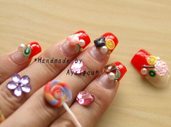 Halloween  japanese 3D nails lolita candy nails by Aya1gou on Etsy, $18.50
