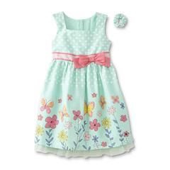 Toughskins Infant & Toddler Girls' Occasion Dress & Ponytail Holder - Polka Dot - Sears