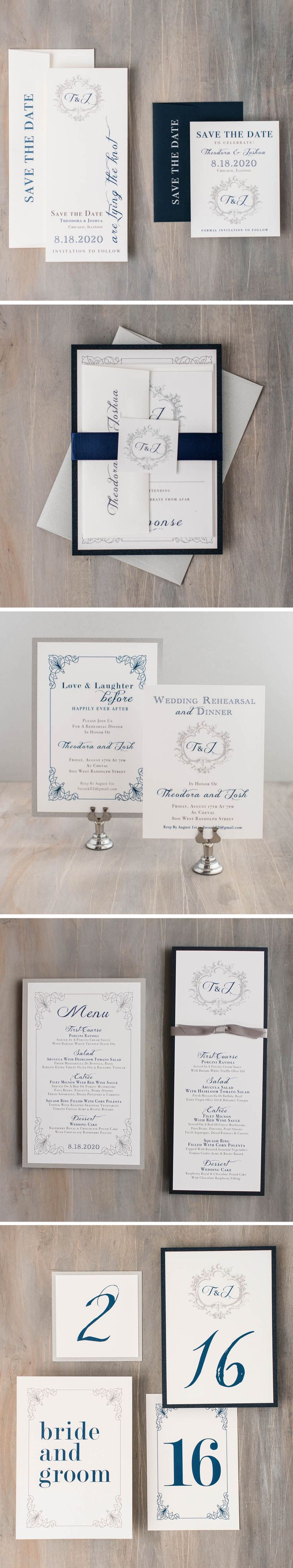 From wedding invitations to save the dates and ceremony programs, set the tone for your wedding day with elegant navy script stationery by Beacon Lane. Explore our entire collection of save the dates, invites, and day of paper goods at www.beaconln.com