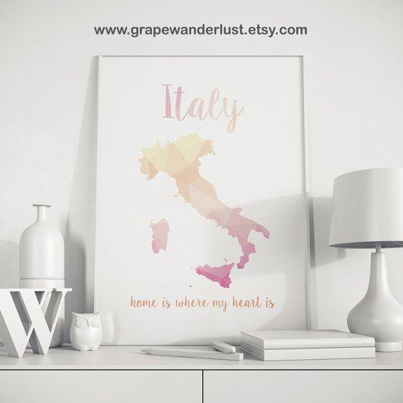Italy map Italy wall art Italy print Italy by GrapeWanderlust