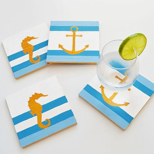 Seafaring Drink Coasters - Project by DecoArt