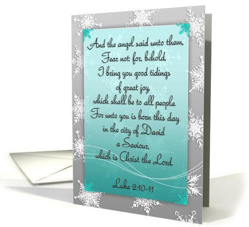 Christian scripture Christmas card, The angel said, snowflakes, mint card, Luke 2:10-11, KJV, teal gradient, snowflake pattern