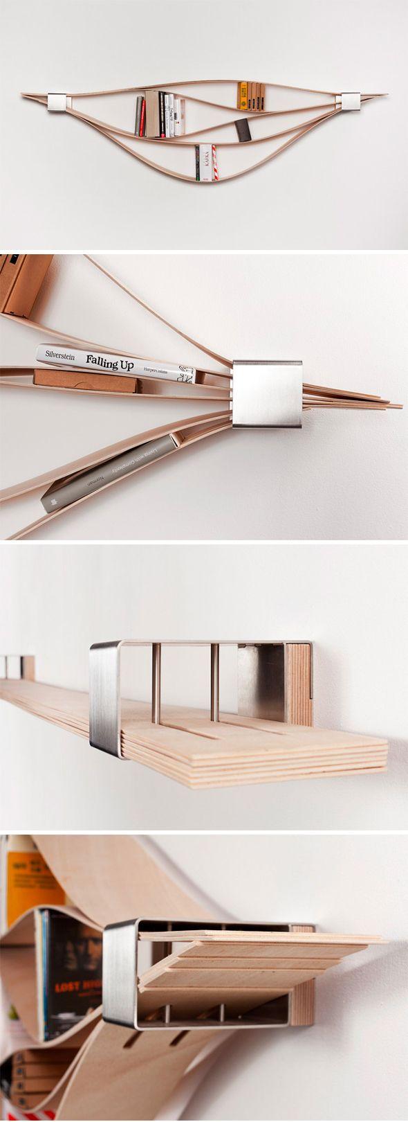 Chuck est un concept d'étagère murale stupéfiant, réalisé par la designer allemandeNatascha Harra-Frischkorn. L'ensemble est composé de six planches de bois de 4mm d'épaisseur, pouvant être ajustées pour abriter des petites collections de livres ou d'objets.