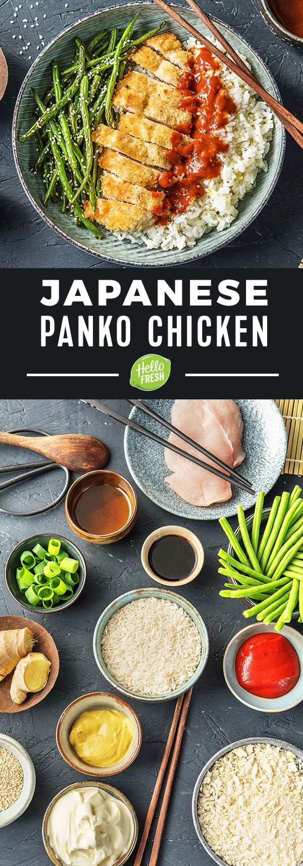 Japanese Panko Chicken with Sesame Green Beans and Tonkatsu-Style Sauce | More easy Asian-inspired chicken recipes on hellofresh.com