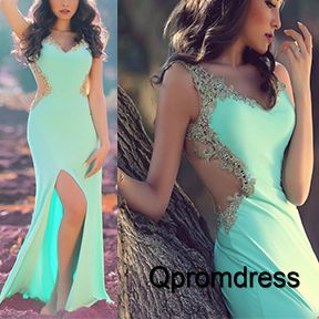 Beautiful green chiffon prom dress, ball gown, 2016 handmade long evening dress with slit #coniefox #2016prom