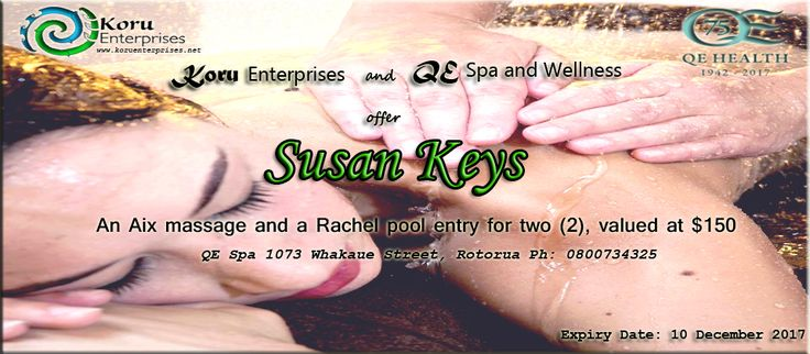Congratulations Susan on winning our recent Plenty magazine competition! We hope you enjoy this special Aix massage, only found in Aotearoa & rejuvenating pools at QE Health Wellness & Spa combo 😊🎈🎉 Arohanui! www.koruenterprises.net