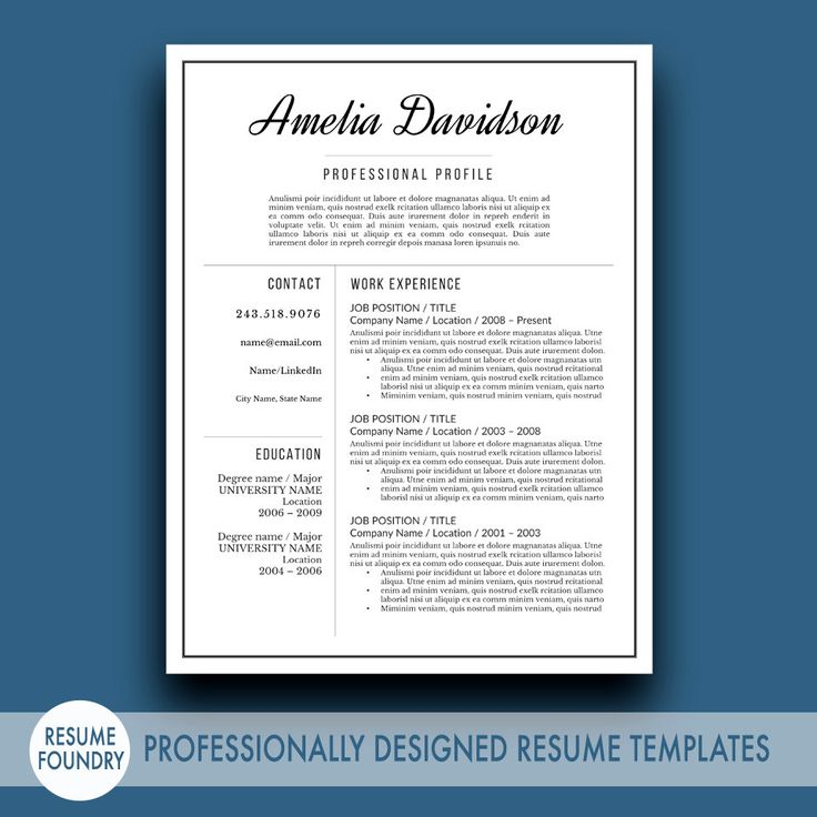 Professional Resume Template / CV Template from Resume Foundry - Inspired Resume Templates.