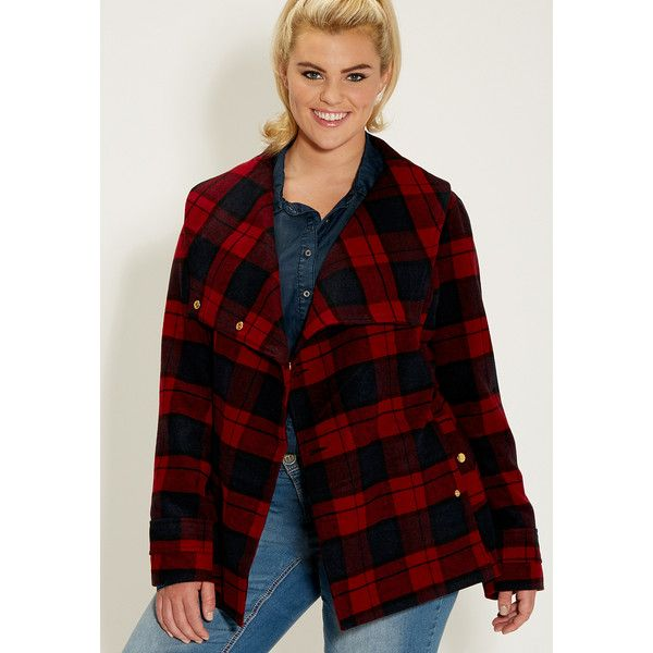 maurices Plus Size - Peacoat In Plaid With Tie Belted Waist ($67) ❤ liked on Polyvore featuring outerwear, jackets, lipstick red combo, plus size, red peacoat, womens plus size jackets, asymmetrical jacket, plus size red jacket и pea jacket