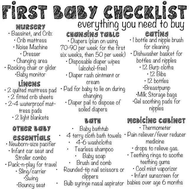 First baby checklist - very helpful! Just the necessary basics not a bunch of expensive, unneeded items